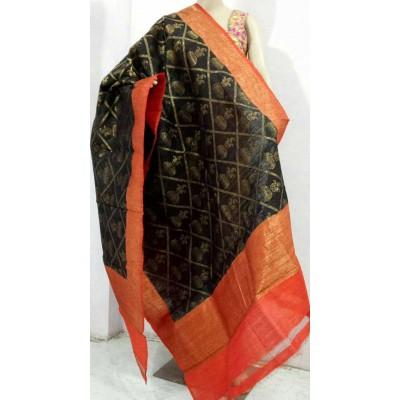 Soummya Creation Black Dupion Silk Banarasi Handloom Duppatta