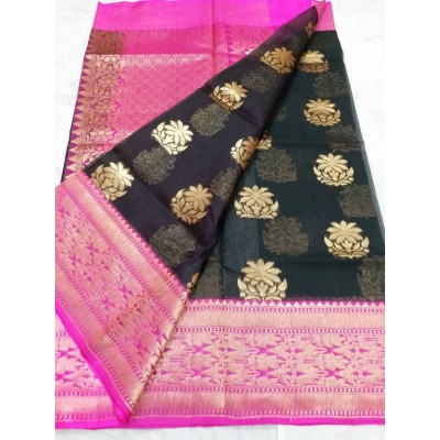 Soummya Creation Black Kora Silk Zari Worked Banarasi Handloom Saree