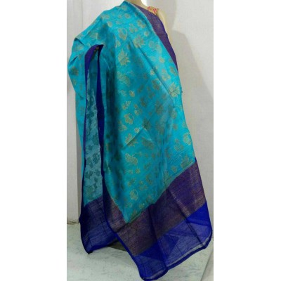 Soummya Creation Blue Dupion Silk Banarasi Handloom Duppatta
