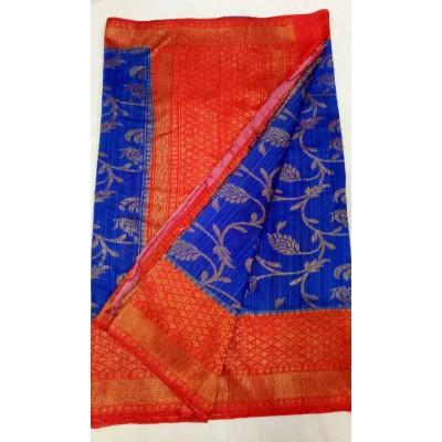 Soummya Creation Blue Dupion Silk Zari Worked Banarasi Handloom Saree