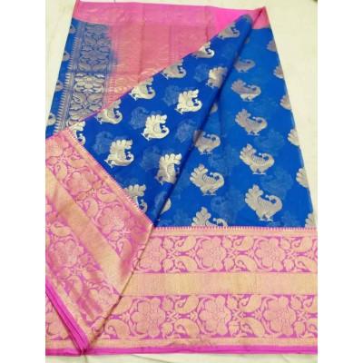 Soummya Creation Blue Kora Silk Zari Worked Banarasi Handloom Saree