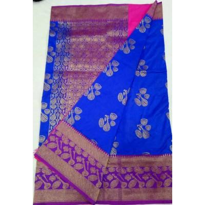 Soummya Creation Dark Blue Semi Katan Silk Zari Worked Banarasi Handloom Saree