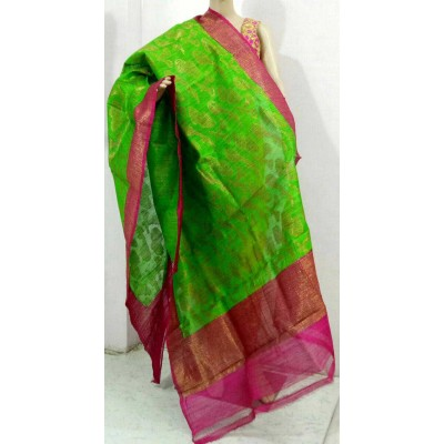 Soummya Creation Green Dupion Silk Banarasi Handloom Duppatta