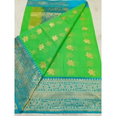 Soummya Creation Green Kora Silk Zari Worked Banarasi Handloom Saree