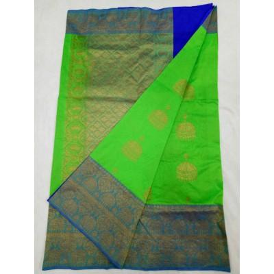 Soummya Creation Green Semi Katan Silk Zari Worked Banarasi Handloom Saree
