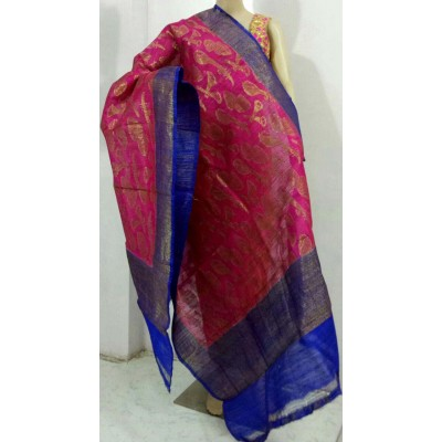 Soummya Creation Magenta Dupion Silk Banarasi Handloom Duppatta