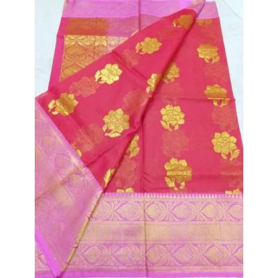 Soummya Creation Maroon Kora Silk Zari Worked Banarasi Handloom Saree