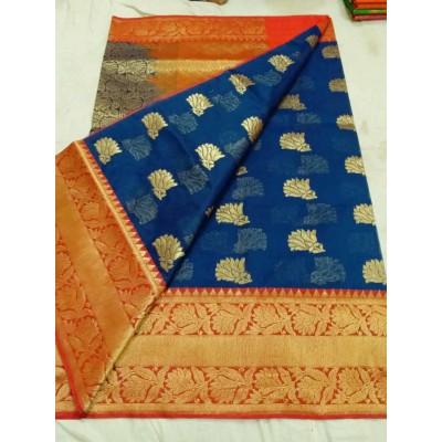 Soummya Creation Navy Blue Kora Silk Zari Worked Banarasi Handloom Saree