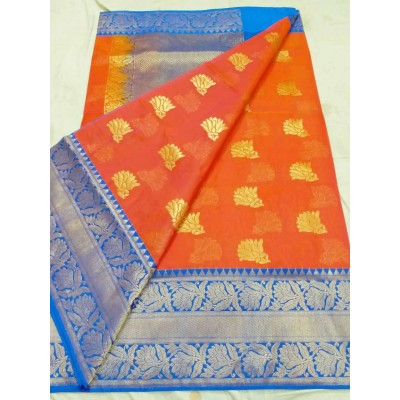Soummya Creation Orange Kora Silk Zari Worked Banarasi Handloom Saree