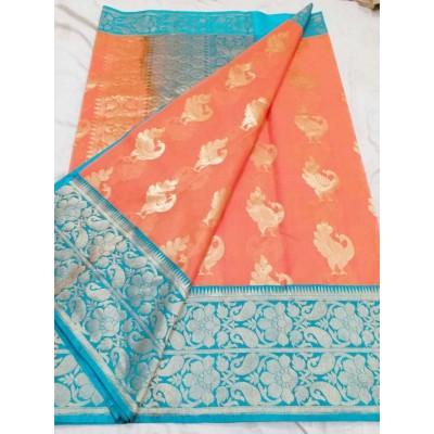 Soummya Creation Peach Kora Silk Zari Worked Banarasi Handloom Saree