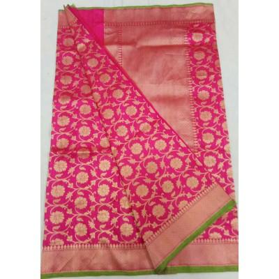 Soummya Creation Pink Katan Paudi Silk Zari Worked Banarasi Handloom Saree