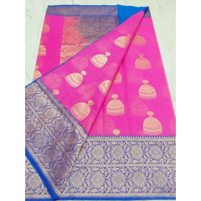 Soummya Creation Pink Kora Silk Zari Worked Banarasi Handloom Saree