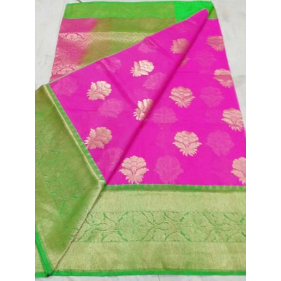 Soummya Creation Pink Kora Silk Zari Worked Banarasi Handloom Saree