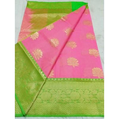 Soummya Creation Rose Kora Silk Zari Worked Banarasi Handloom Saree