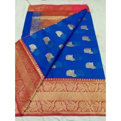 Soummya Creation Royal blue Kosa Silk Zari Worked Banarasi Handloom Saree