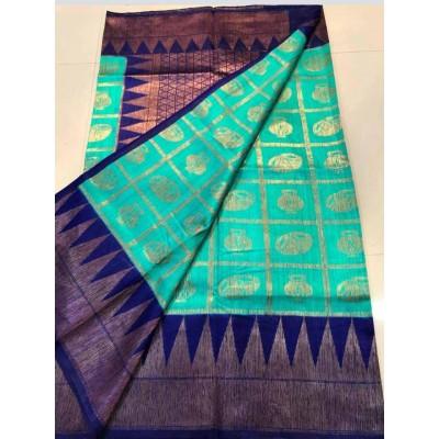 Soummya Creation Sea Blue Dupion Silk Zari Worked Banarasi Handloom Saree