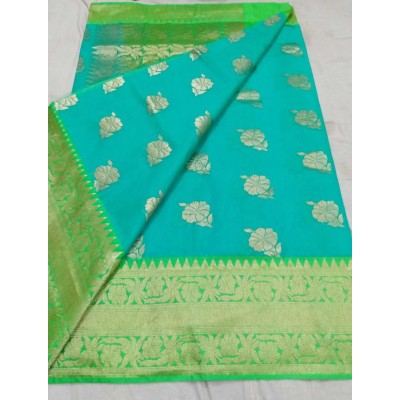 Soummya Creation Sky Blue Kora Silk Zari Worked Banarasi Handloom Saree