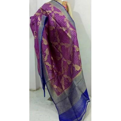 Soummya Creation Violet Dupion Silk Banarasi Handloom Duppatta