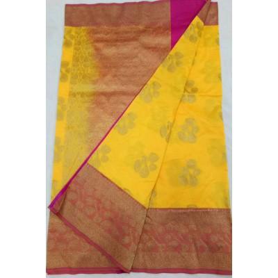 Soummya Creation Yellow Semi Katan Silk Zari Worked Banarasi Handloom Saree