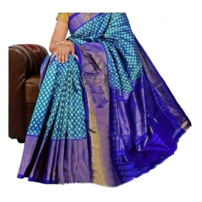 Pochampally Traditional House Blue Silk Zari Worked Ikkat Handloom Saree