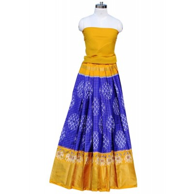 Pochampally Traditional House Blue Silk Ikkat Designed Un-Stitched Handloom Lehenga Choli