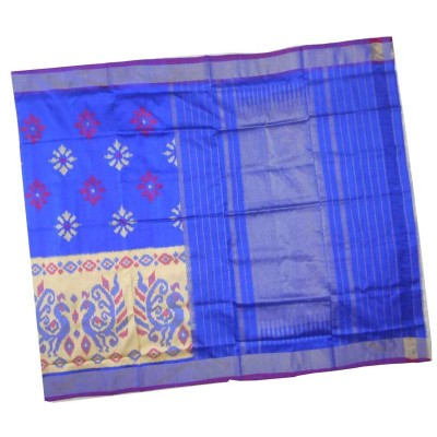 Pochampally Traditional House Blue Silk Floral Printed Ikkat Handloom Saree