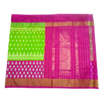 Pochampally Traditional House Green Silk Floral Printed Ikkat Handloom Saree