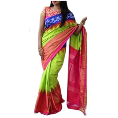 Pochampally Traditional House Green Silk Ganga-Jamuna bordered Ikkat Handloom Saree