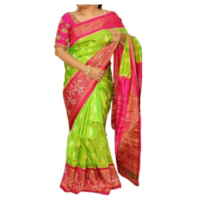 Pochampally Traditional House Green Silk Ikkat Handloom Saree