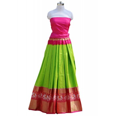 Pochampally Traditional House Green Silk Ikkat Designed Un-Stitched Handloom Lehenga Choli