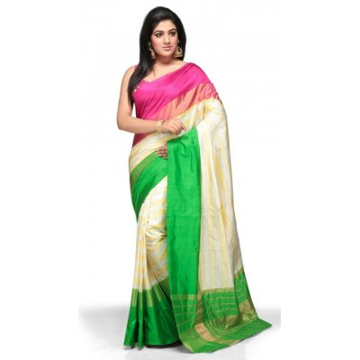 Pochampally Traditional House Cream Silk Ganga-Jamuna bordered Ikkat Handloom Saree