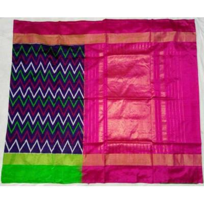 Pochampally Traditional House Blue Silk Ganga-Jamuna bordered Ikkat Handloom Saree