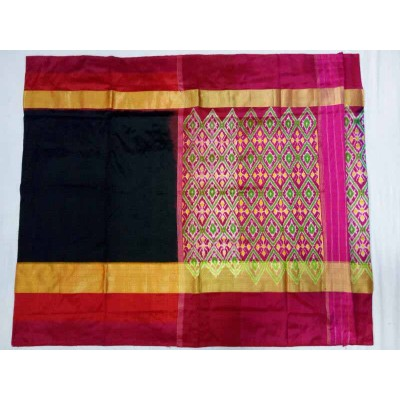 Pochampally Traditional House Black Silk Patola Ikkat Handloom Saree