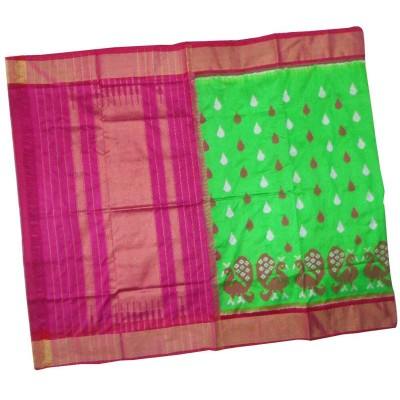 Pochampally Traditional House Light Green Silk Printed Ikkat Handloom Saree