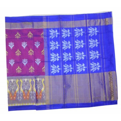 Pochampally Traditional House Magenta Silk Floral Printed Ikkat Handloom Saree