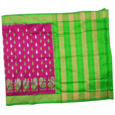 Pochampally Traditional House Magenta Silk Peacock Designed Ikkat Handloom Saree