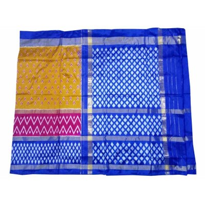 Pochampally Traditional House Mustard Silk Floral Printed Ikkat Handloom Saree