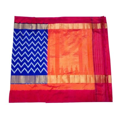 Pochampally Traditional House Royal blue Silk Kaddi Bordered Ikkat Handloom Saree