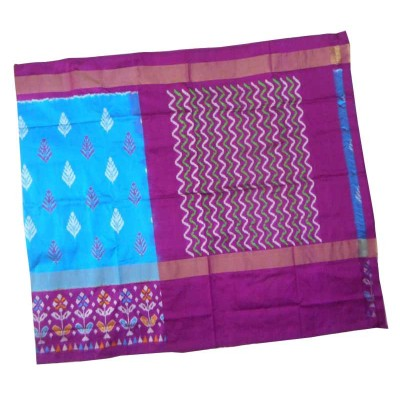 Pochampally Traditional House Sky Blue Silk Printed Ikkat Handloom Saree