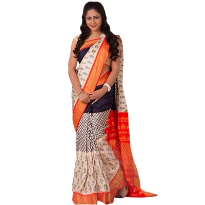 Pochampally Traditional House White Silk Printed Ikkat Handloom Saree