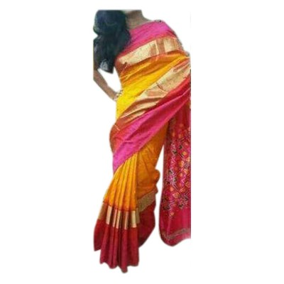 Pochampally Traditional House Yellow Silk Patola Ikkat Handloom Saree