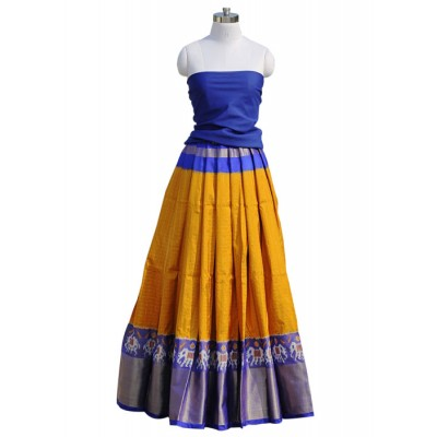 Pochampally Traditional House Yellow Silk Ikkat Designed Un-Stitched Handloom Lehenga Choli