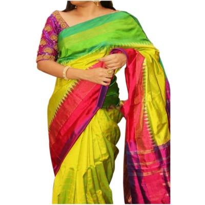 Pochampally Traditional House Yellow Silk Ganga-Jamuna bordered Ikkat Handloom Saree