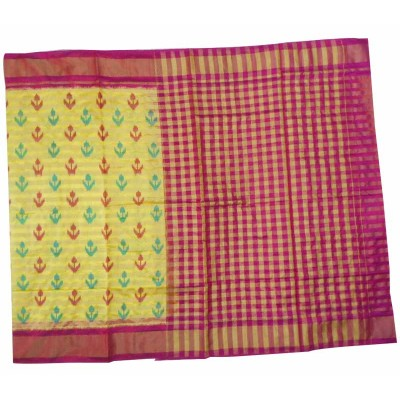 Pochampally Traditional House Yellow Silk Printed Ikkat Handloom Saree