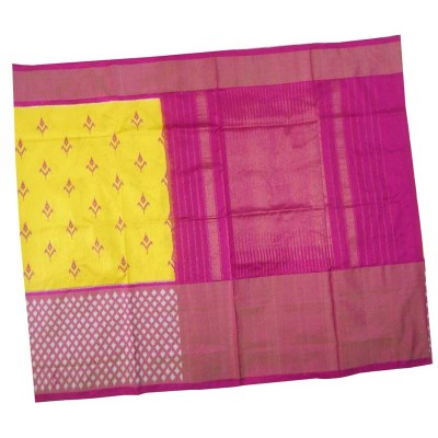 Pochampally Traditional House Yellow Silk Ikkat Handloom Saree