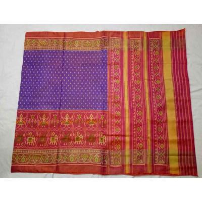 Rajkot Patola Art Maroon Silk Ikkat Patola Handloom Saree