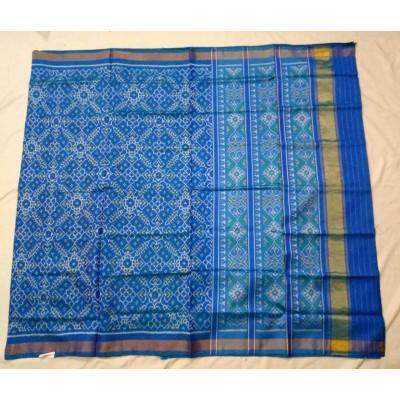 Rajkot Patola Art Sky Blue Pure Silk Ikkat Patola Handloom Saree