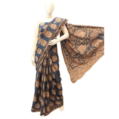 NNT Ash Pure Mul Mul Cotton Kalamkari Saree