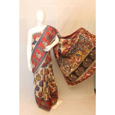 NNT Beige Kalamkari Silk Saree