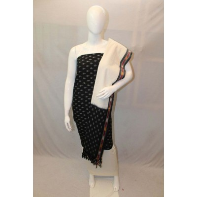 NNT Black Ikkat Un-Stitched Handloom Dress Material